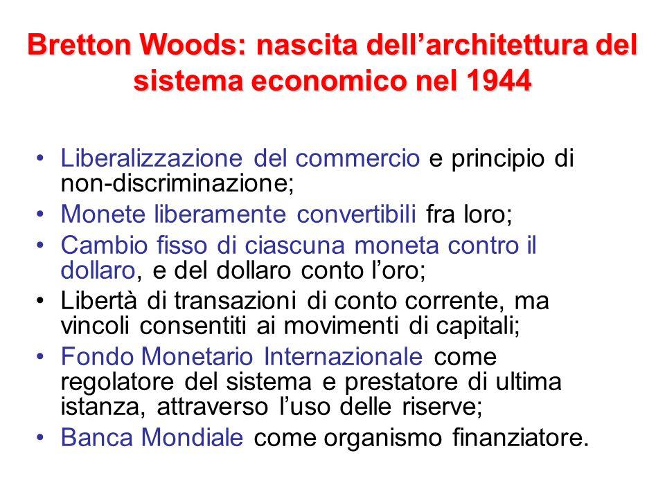 Bretton Woods: affermazione e sviluppo del sistema Squilibri del dopo-1945 rendono impossibile lattuazione della convertibilità prevista Bretton Woods.
