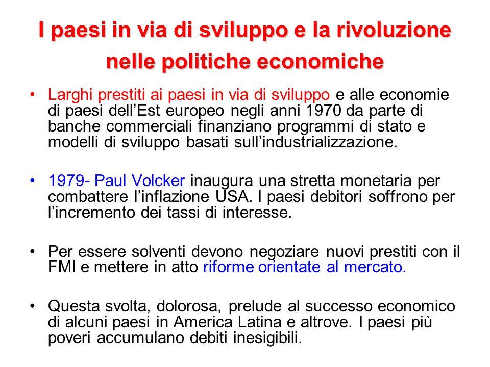 I paesi in via di sviluppo e la rivoluzione nelle politiche economiche Larghi prestiti ai paesi in via di sviluppo e alle economie di paesi dellEst eu