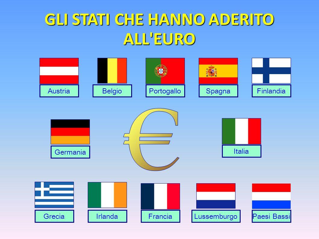 AustriaBelgioSpagnaFinlandia Francia Germania GreciaIrlanda Italia LussemburgoPaesi Bassi Portogallo GLI STATI CHE HANNO ADERITO ALL'EURO