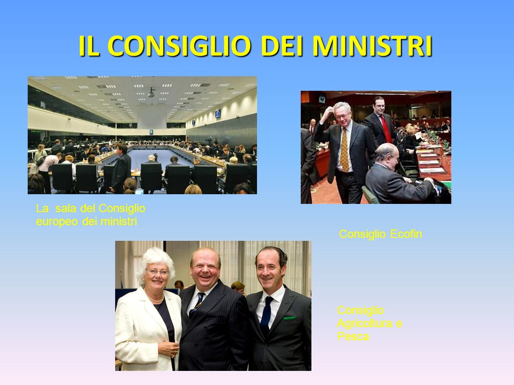 IL CONSIGLIO DEI MINISTRI Consiglio Agricoltura e Pesca La sala del Consiglio europeo dei ministri Consiglio Ecofin