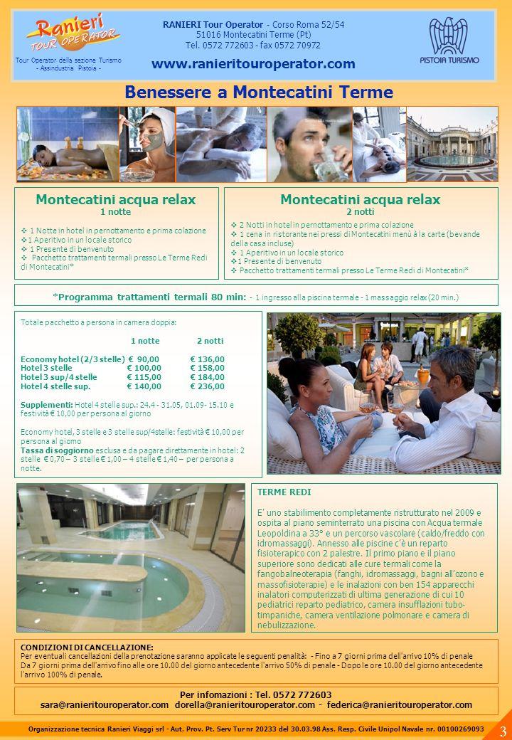Montecatini acqua relax 1 notte 1 Notte in hotel in pernottamento e prima colazione 1 Aperitivo in un locale storico 1 Presente di benvenuto Pacchetto