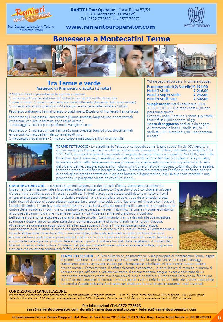 Cultura e Terme in Toscana (Venerdi – Domenica) 2 Notti in hotel in pernottamento e prima colazione Pacchetto trattamenti termali 120 min.