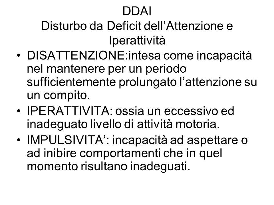 DDAI Disturbo da Deficit dellAttenzione e Iperattività DISATTENZIONE:intesa come incapacità nel mantenere per un periodo sufficientemente prolungato l
