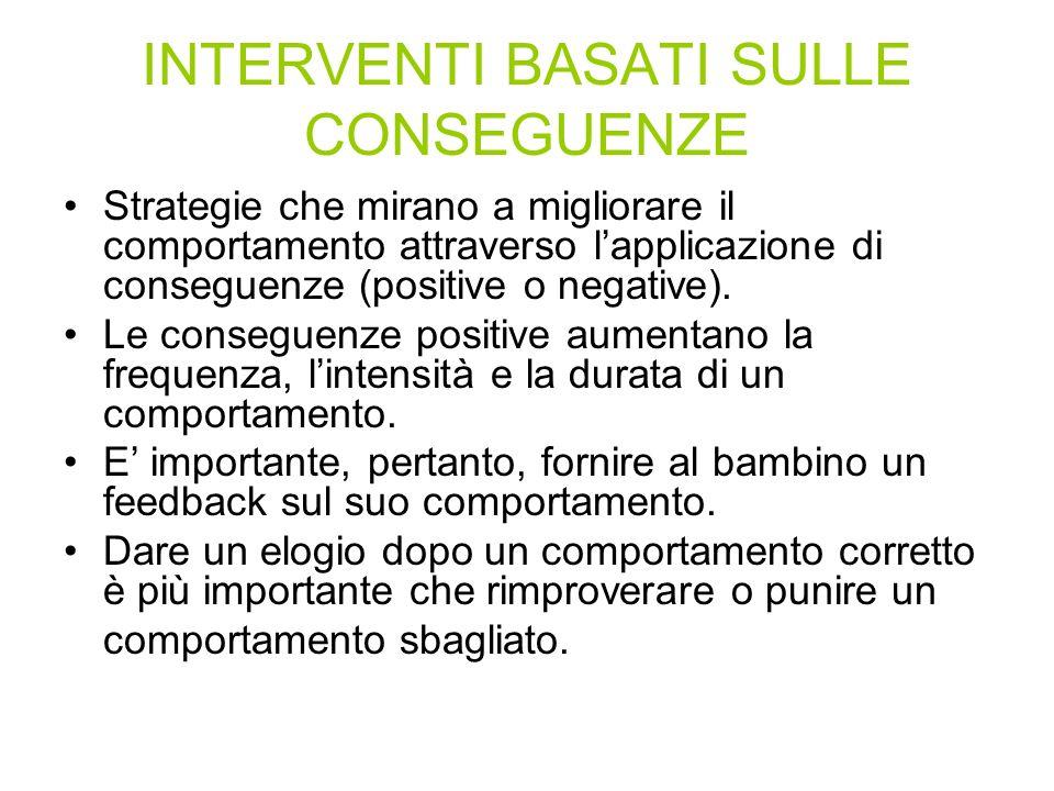 INTERVENTI BASATI SULLE CONSEGUENZE Strategie che mirano a migliorare il comportamento attraverso lapplicazione di conseguenze (positive o negative).