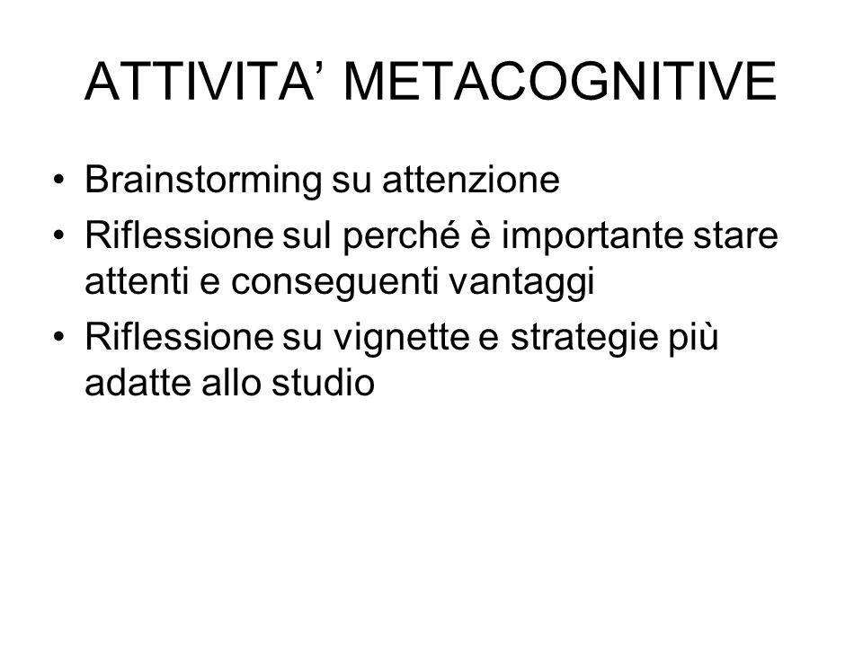ATTIVITA METACOGNITIVE Brainstorming su attenzione Riflessione sul perché è importante stare attenti e conseguenti vantaggi Riflessione su vignette e