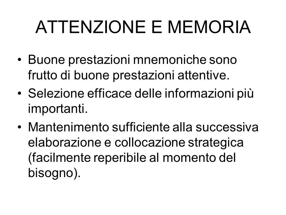 ATTENZIONE E MEMORIA Buone prestazioni mnemoniche sono frutto di buone prestazioni attentive. Selezione efficace delle informazioni più importanti. Ma