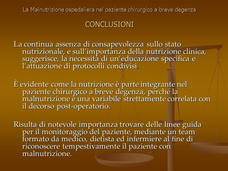 La continua assenza di consapevolezza sullo stato nutrizionale, e sullimportanza della nutrizione clinica, suggerisce, la necessità di uneducazione sp