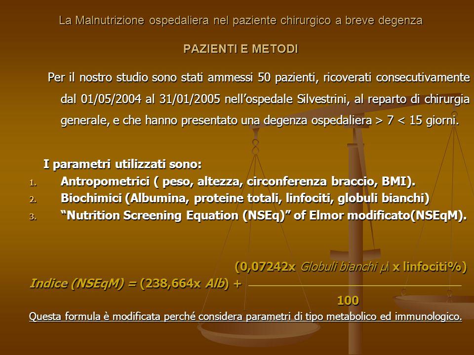 La Malnutrizione ospedaliera nel paziente chirurgico a breve degenza PAZIENTI E METODI Per il nostro studio sono stati ammessi 50 pazienti, ricoverati