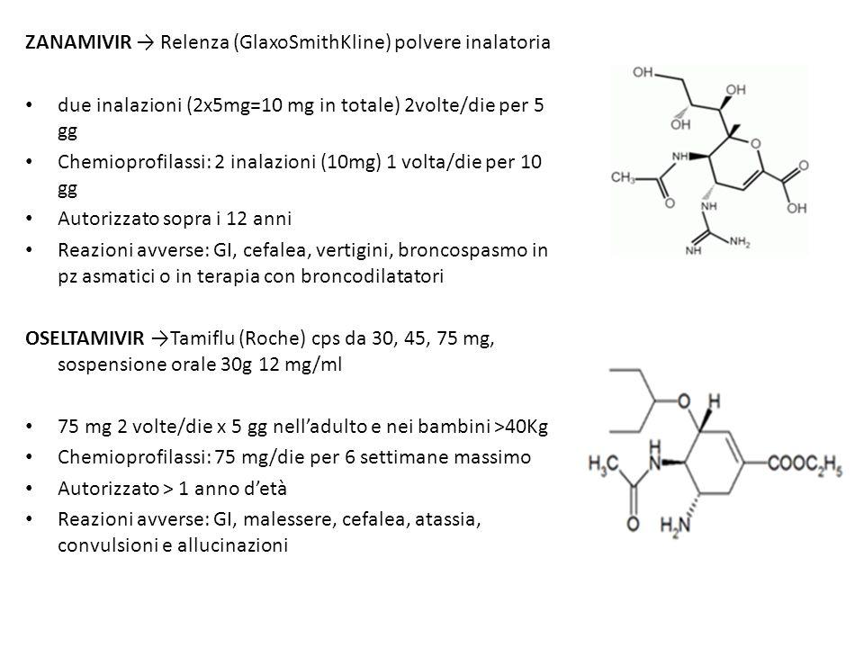 ZANAMIVIR Relenza (GlaxoSmithKline) polvere inalatoria due inalazioni (2x5mg=10 mg in totale) 2volte/die per 5 gg Chemioprofilassi: 2 inalazioni (10mg