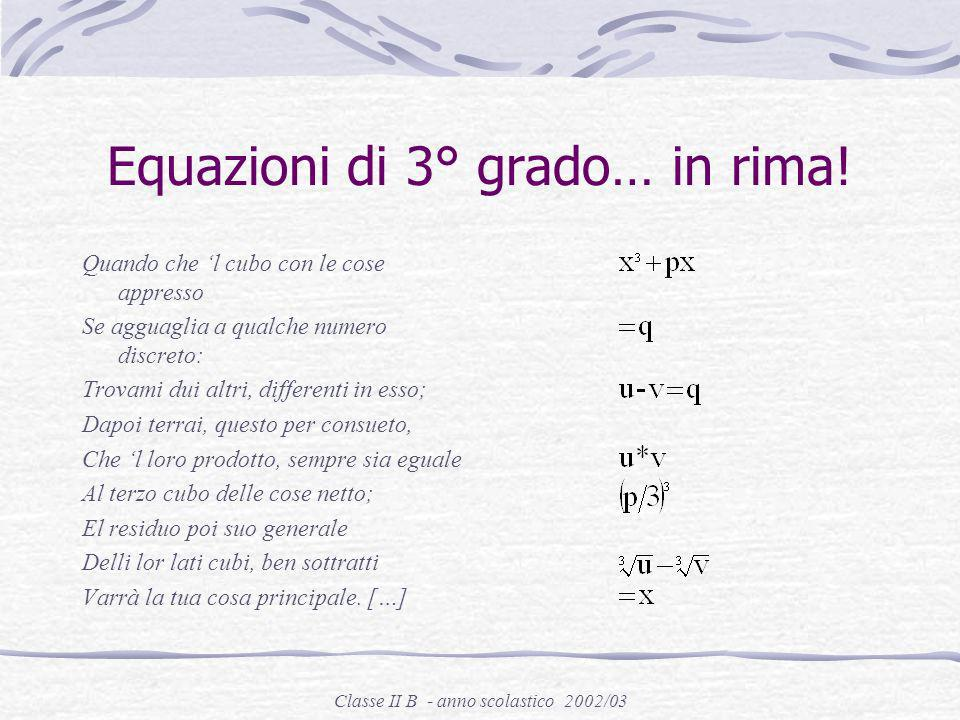 Classe II B - anno scolastico 2002/03 Le opere Practicae arithmeticae, Norimberga, 1539 Artis magnae, sive De regulis algebraicis liber unus, Norimber