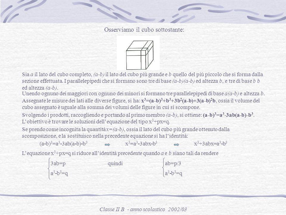 Classe II B - anno scolastico 2002/03 Nella sua opera, Algebra, espose i metodi di risoluzione delle equazioni di 3° grado. Bombelli si occupò del cos