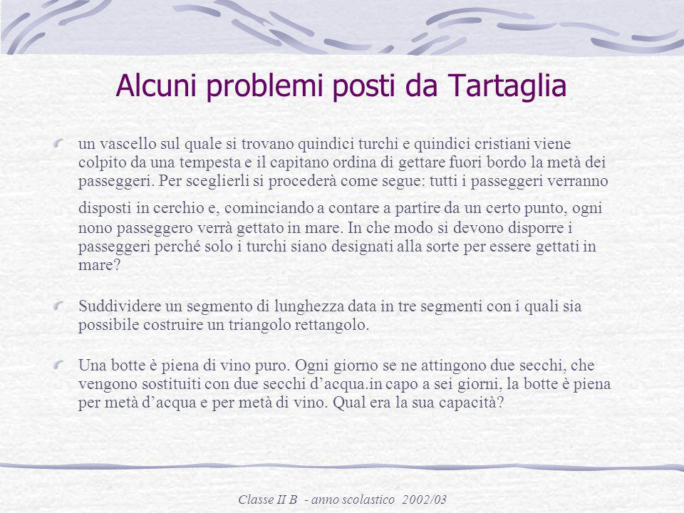 Classe II B - anno scolastico 2002/03 Alcuni problemi proposti da fiori: trovare un numero che, sommato alla sua radice cubica, dia come risultato sei