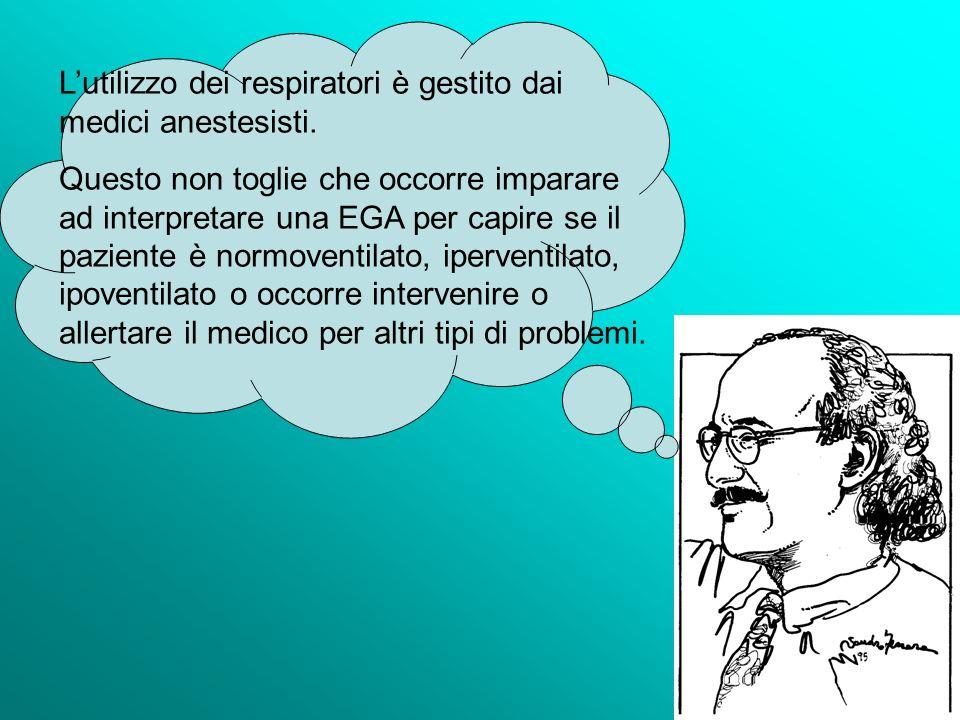 Lutilizzo dei respiratori è gestito dai medici anestesisti. Questo non toglie che occorre imparare ad interpretare una EGA per capire se il paziente è