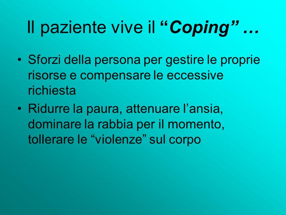 Il paziente vive il Coping … Sforzi della persona per gestire le proprie risorse e compensare le eccessive richiesta Ridurre la paura, attenuare lansi