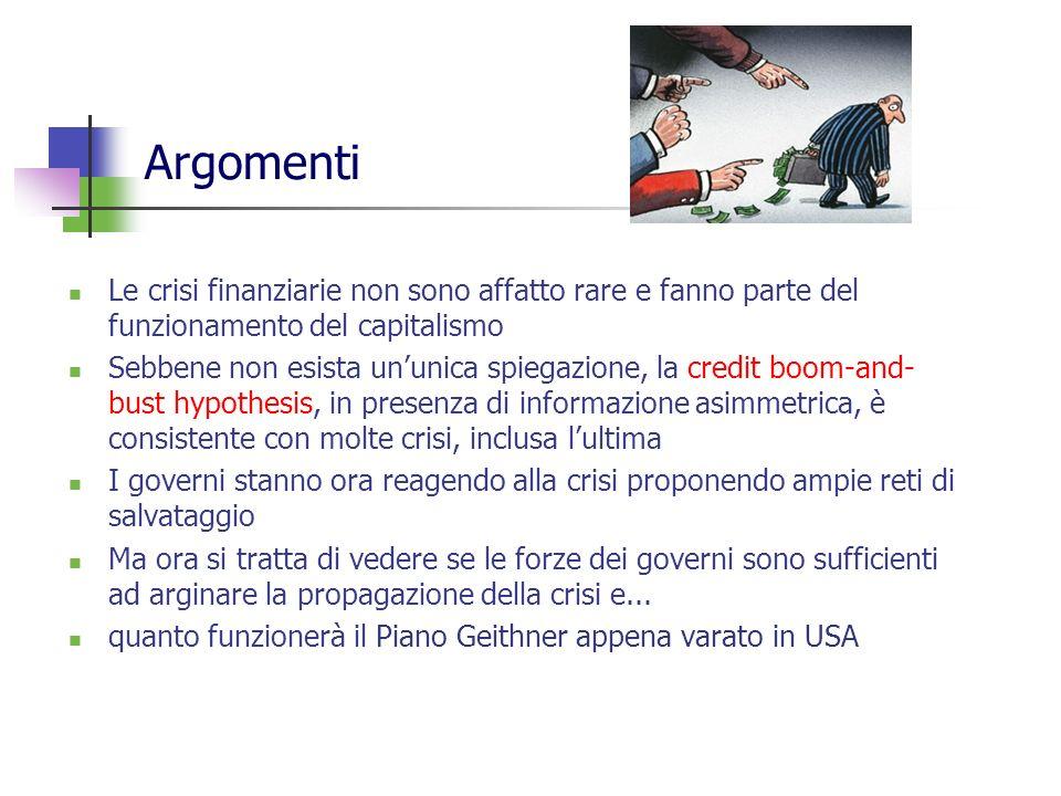 Crisi finanziarie Rare? Imprevedibili? Fonte: Reinhart and Rogoff, 2008