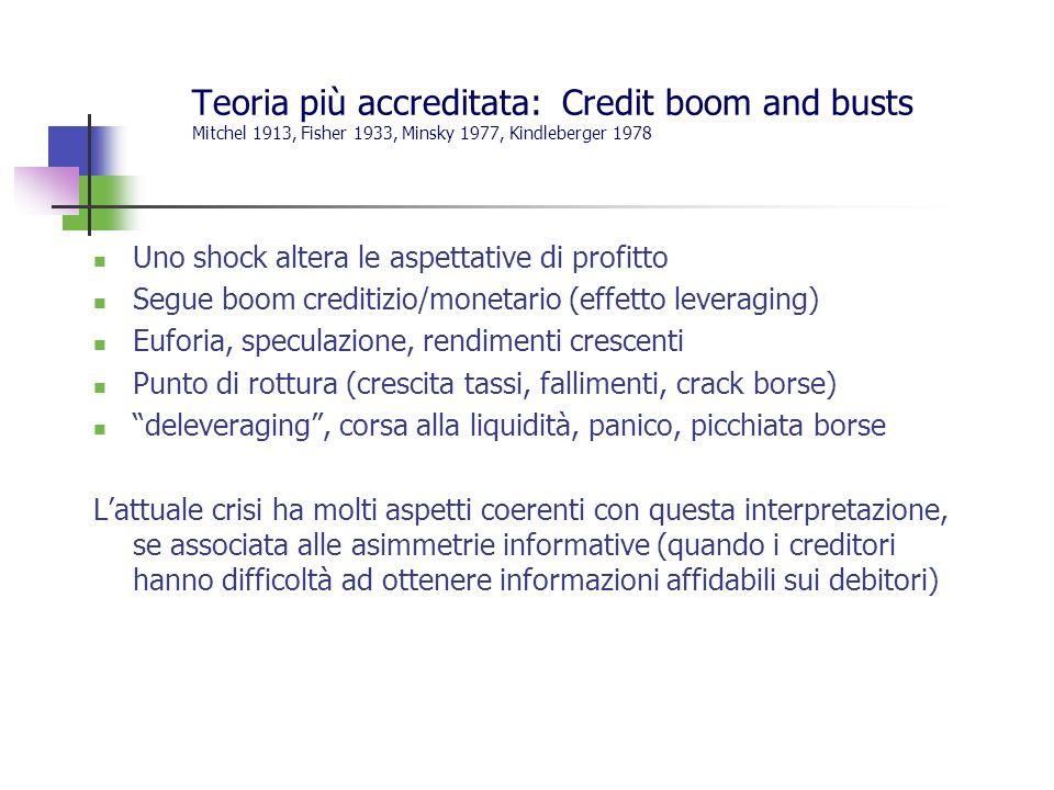 Teoria più accreditata: Credit boom and busts Mitchel 1913, Fisher 1933, Minsky 1977, Kindleberger 1978 Uno shock altera le aspettative di profitto Segue boom creditizio/monetario (effetto leveraging) Euforia, speculazione, rendimenti crescenti Punto di rottura (crescita tassi, fallimenti, crack borse) deleveraging, corsa alla liquidità, panico, picchiata borse Lattuale crisi ha molti aspetti coerenti con questa interpretazione, se associata alle asimmetrie informative (quando i creditori hanno difficoltà ad ottenere informazioni affidabili sui debitori)