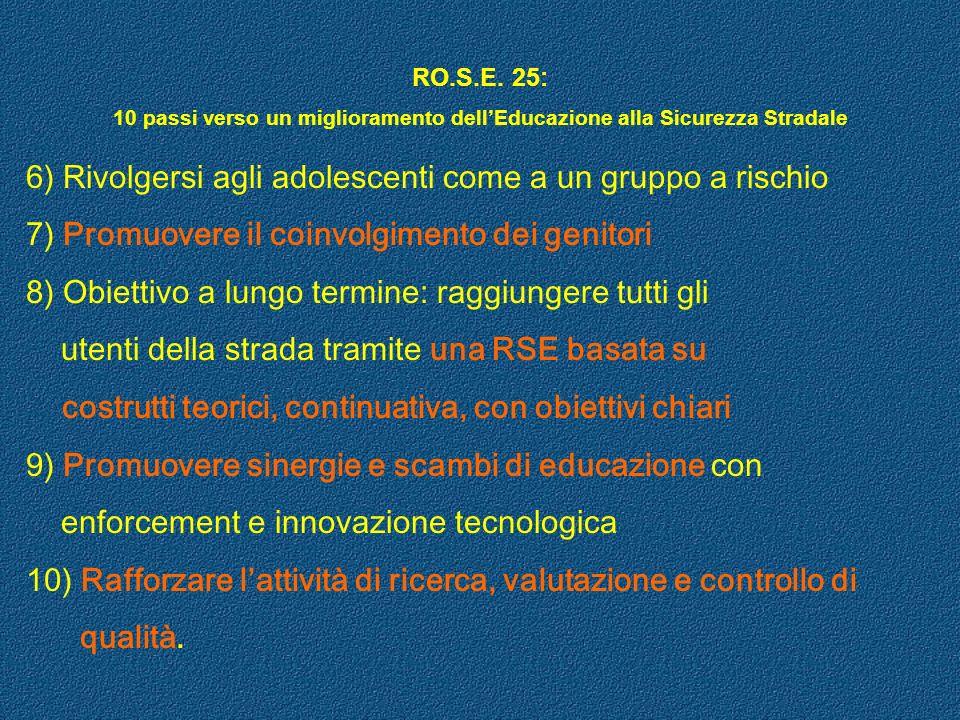 RO.S.E. 25: 10 passi verso un miglioramento dellEducazione alla Sicurezza Stradale 10 PASSI: 1) Riconoscimento del ruolo della RSE 2) Rendere priorita