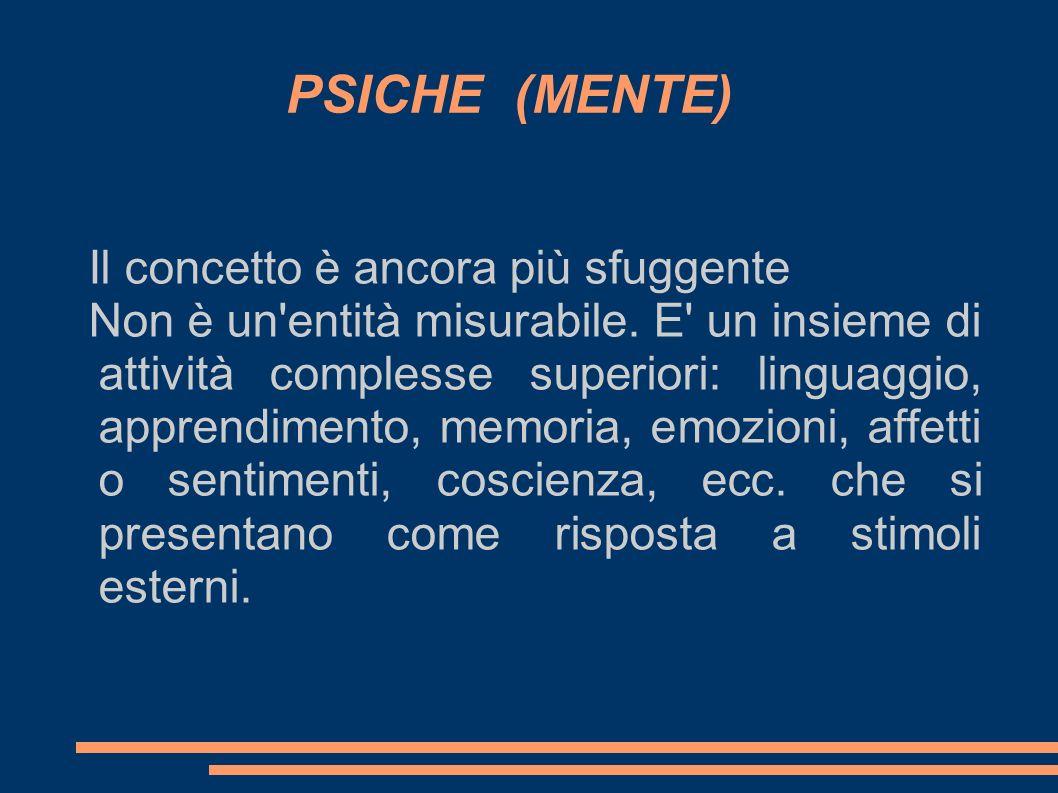 PSICHE (MENTE) Il concetto è ancora più sfuggente Non è un'entità misurabile. E' un insieme di attività complesse superiori: linguaggio, apprendimento