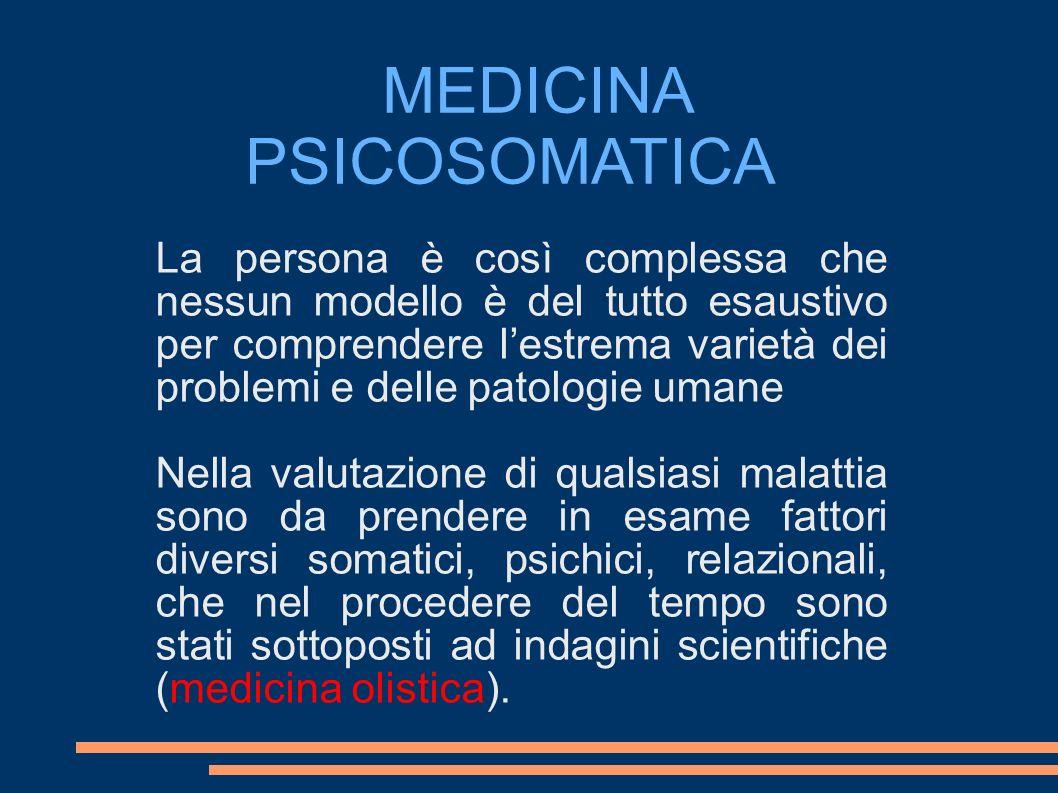 MEDICINA PSICOSOMATICA La persona è così complessa che nessun modello è del tutto esaustivo per comprendere lestrema varietà dei problemi e delle pato
