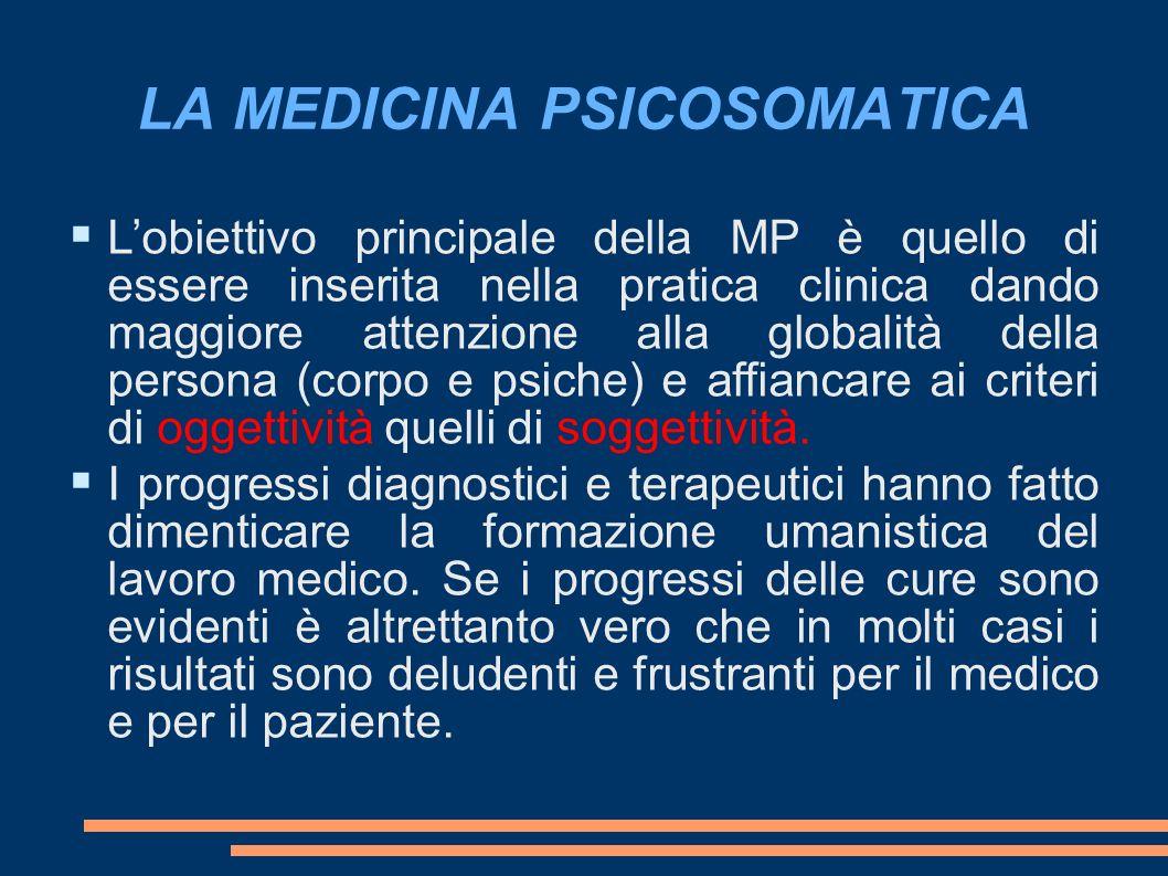 LA MEDICINA PSICOSOMATICA Lobiettivo principale della MP è quello di essere inserita nella pratica clinica dando maggiore attenzione alla globalità della persona (corpo e psiche) e affiancare ai criteri di oggettività quelli di soggettività.