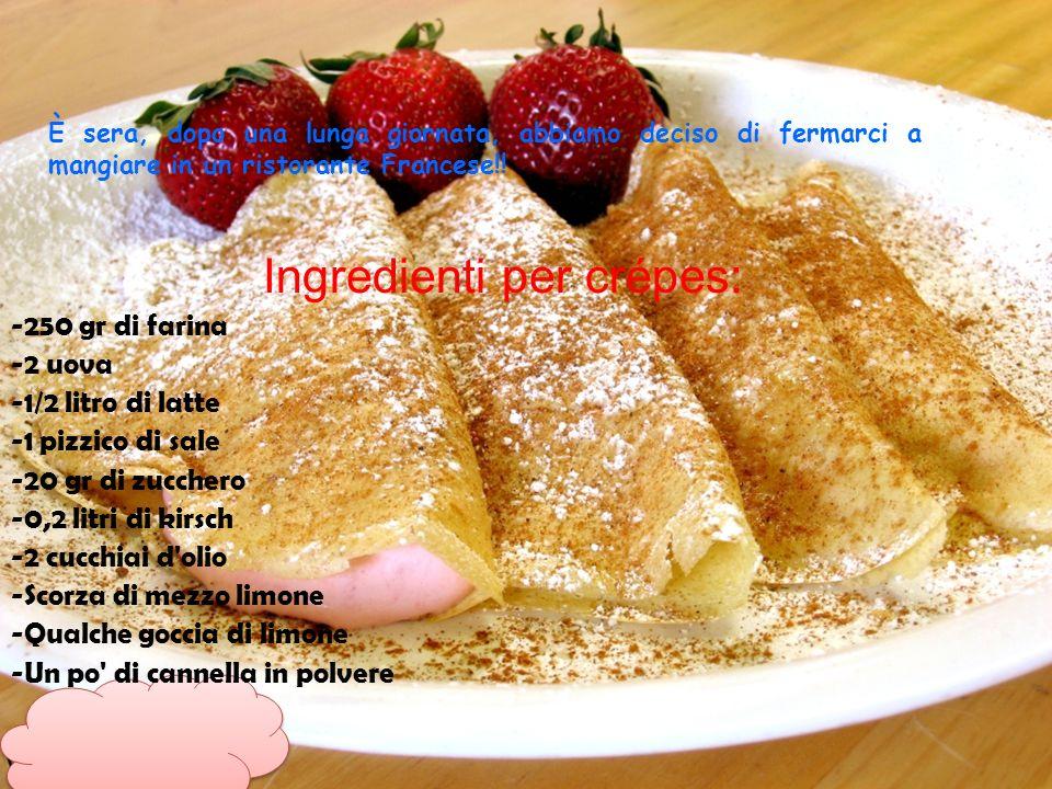 È sera, dopo una lunga giornata, abbiamo deciso di fermarci a mangiare in un ristorante Francese!! Ingredienti per crépes: -250 gr di farina -2 uova -