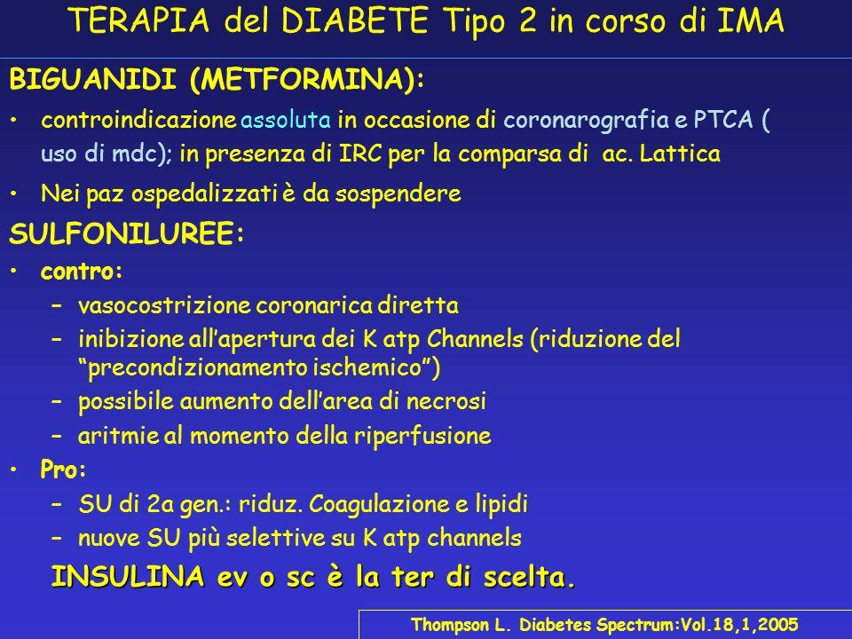 IMA E DIABETE La TERAPIA Farmacologica: ASA (300 mg meglio di 160) (Antiplatelet Trialists Collaboration. BMJ 1994) Trombolisi (rt-PA meglio di SK) (S