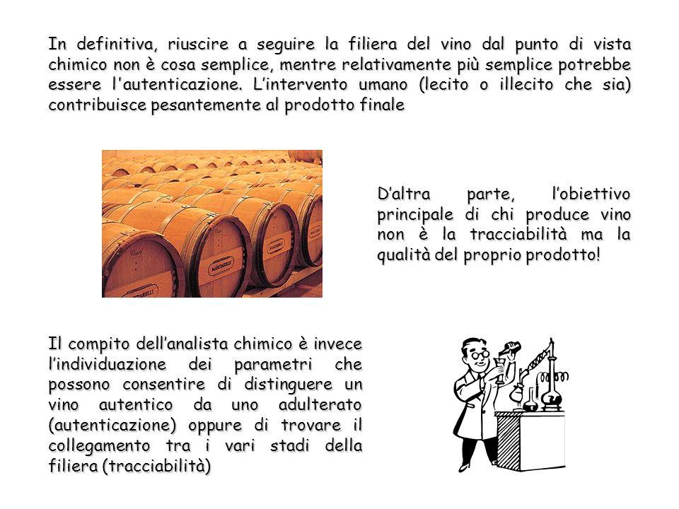 In definitiva, riuscire a seguire la filiera del vino dal punto di vista chimico non è cosa semplice, mentre relativamente più semplice potrebbe essere l autenticazione.