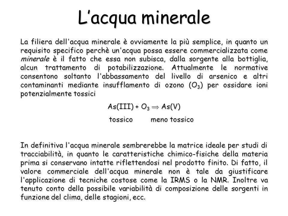 Lacqua minerale La filiera dell acqua minerale è ovviamente la più semplice, in quanto un requisito specifico perchè un acqua possa essere commercializzata come minerale è il fatto che essa non subisca, dalla sorgente alla bottiglia, alcun trattamento di potabilizzazione.