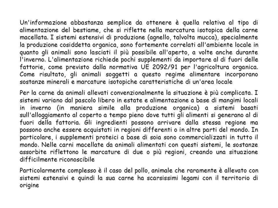 Un informazione abbastanza semplice da ottenere è quella relativa al tipo di alimentazione del bestiame, che si riflette nella marcatura isotopica della carne macellata.