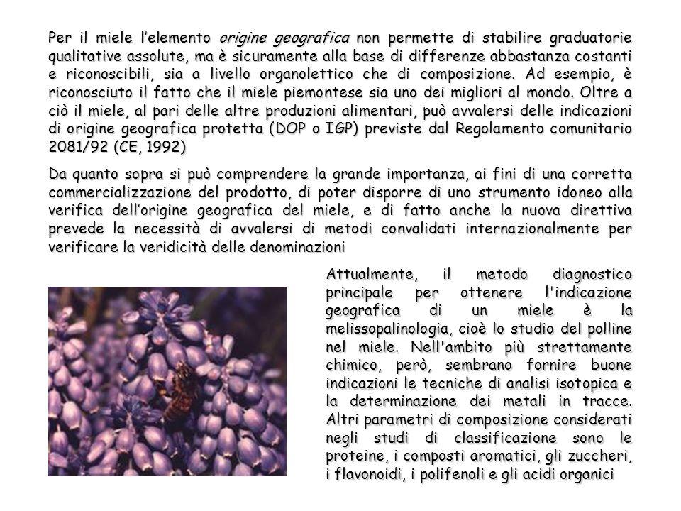 Per il miele lelemento origine geografica non permette di stabilire graduatorie qualitative assolute, ma è sicuramente alla base di differenze abbastanza costanti e riconoscibili, sia a livello organolettico che di composizione.