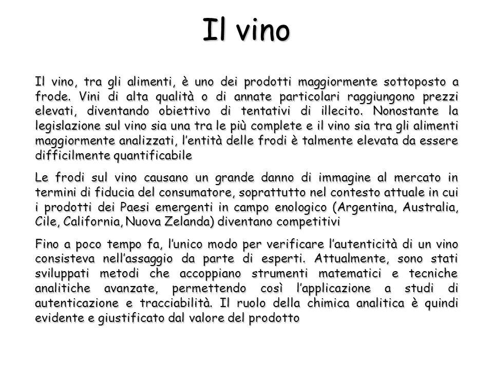 Il vino Il vino, tra gli alimenti, è uno dei prodotti maggiormente sottoposto a frode.