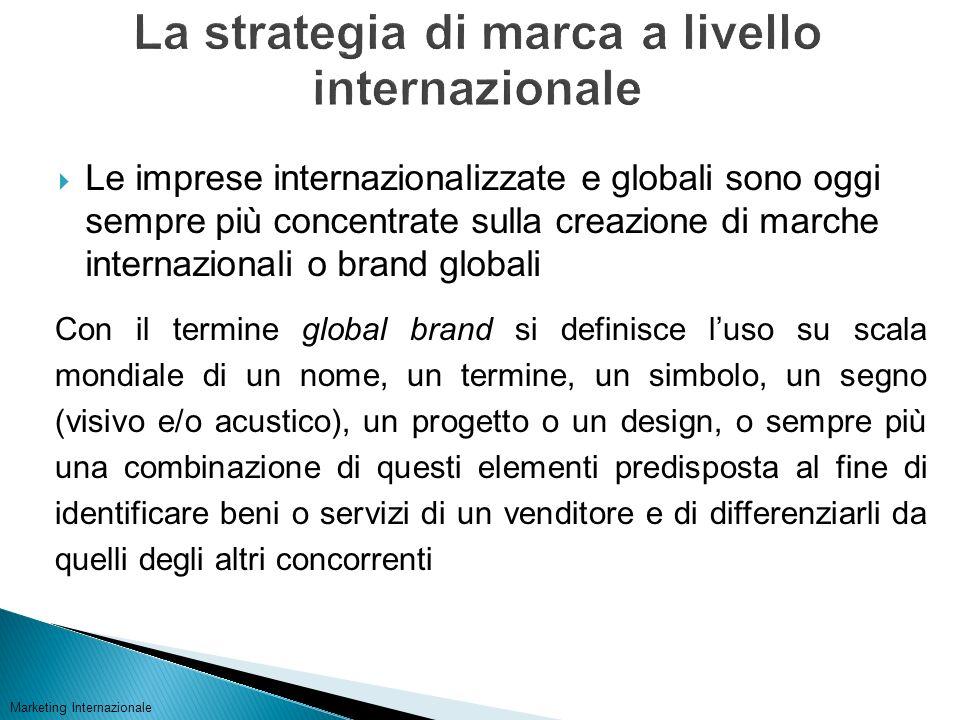 Le imprese internazionalizzate e globali sono oggi sempre più concentrate sulla creazione di marche internazionali o brand globali Marketing Internazi
