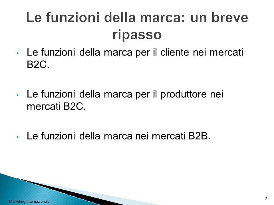 Marketing Internazionale 2 Le funzioni della marca per il cliente nei mercati B2C. Le funzioni della marca per il produttore nei mercati B2C. Le funzi
