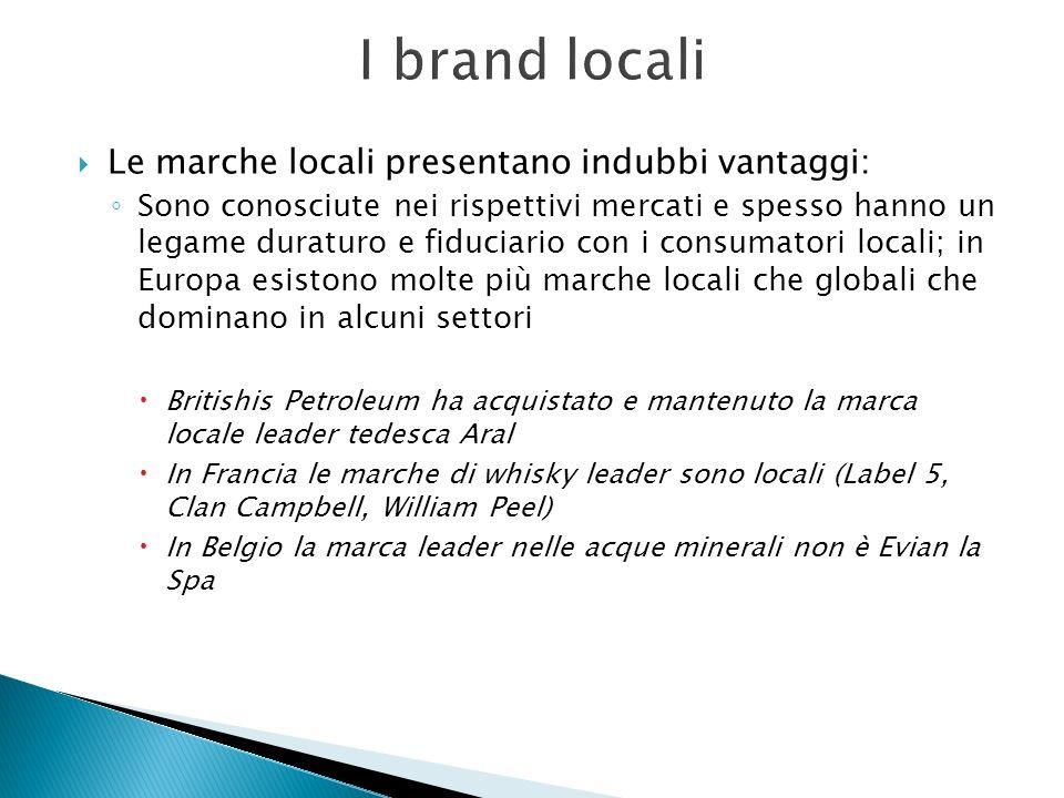Le marche locali presentano indubbi vantaggi: Sono conosciute nei rispettivi mercati e spesso hanno un legame duraturo e fiduciario con i consumatori