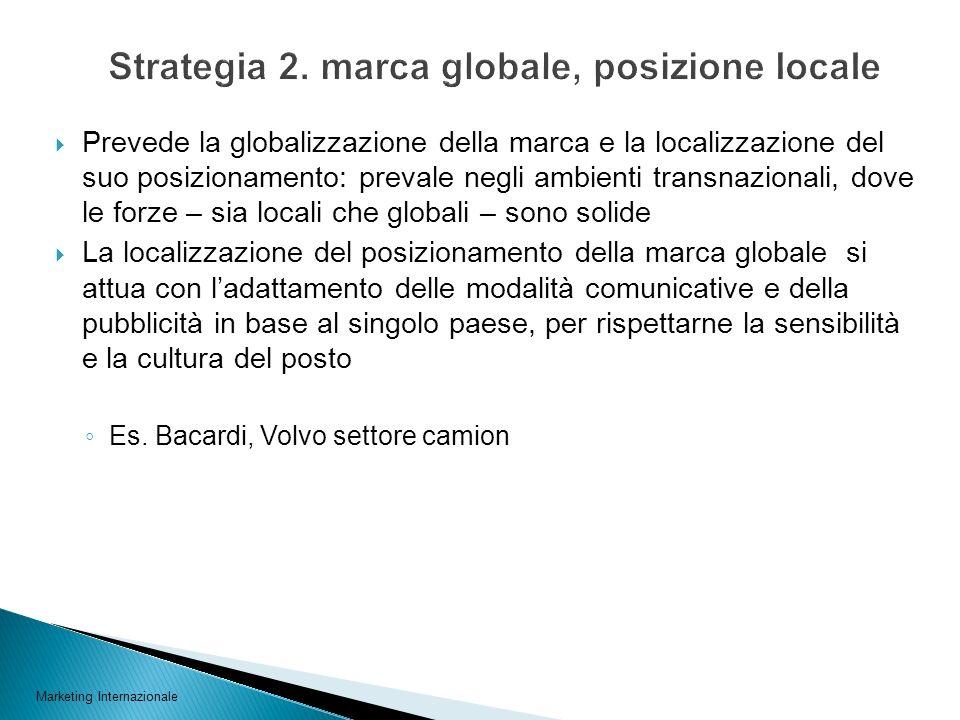 Prevede la globalizzazione della marca e la localizzazione del suo posizionamento: prevale negli ambienti transnazionali, dove le forze – sia locali c