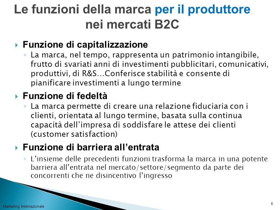 Marketing Internazionale 7 Sono simili a quelle delle marche dei prodotti di largo consumo, ad eccezione della funzione ludica.