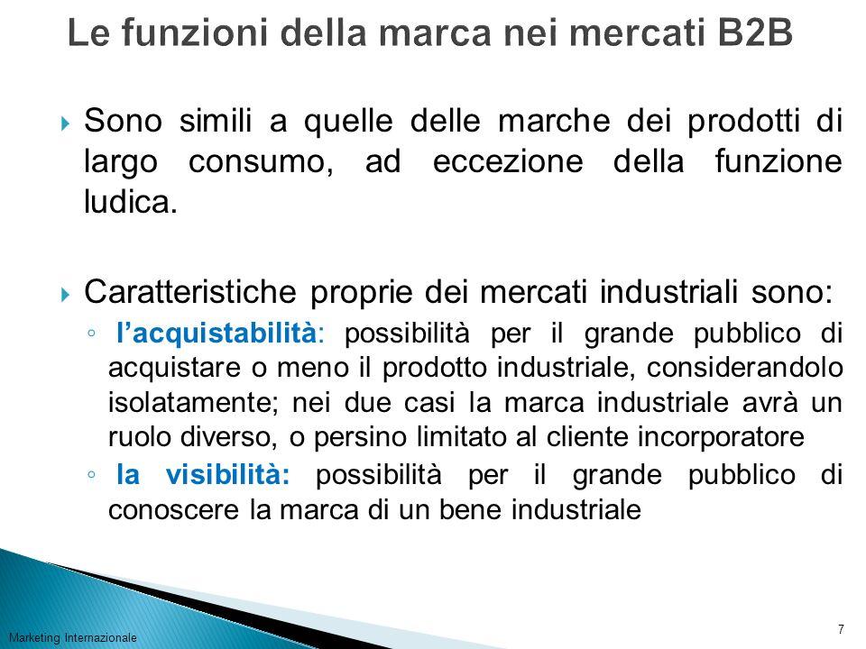 Marketing Internazionale 7 Sono simili a quelle delle marche dei prodotti di largo consumo, ad eccezione della funzione ludica. Caratteristiche propri