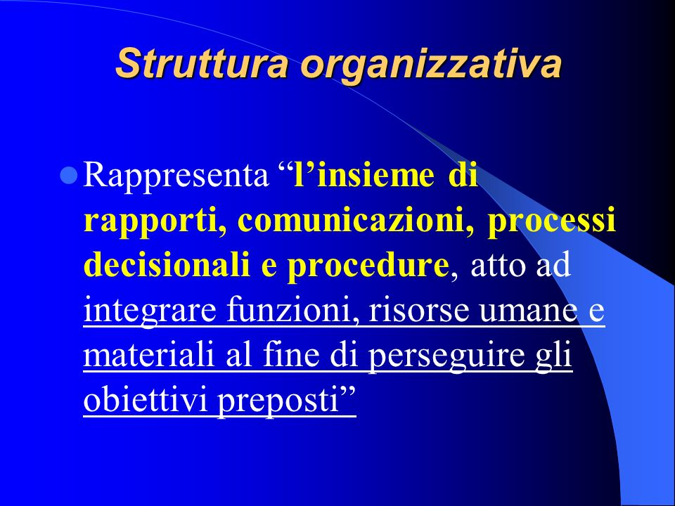 Pianificazione organizzativa Analisi dellambiente e del sistema organizzativo aziendale; Identificazione ed esplicitazione della missione, della visio