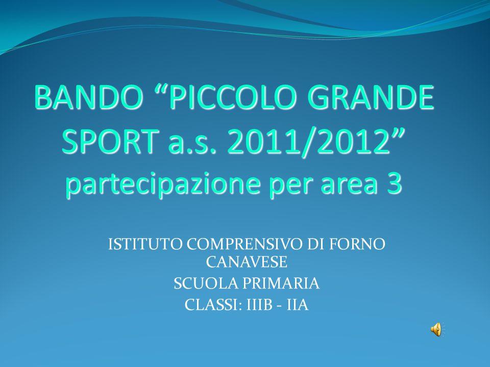 BANDO PICCOLO GRANDE SPORT a.s. 2011/2012 partecipazione per area 3 ISTITUTO COMPRENSIVO DI FORNO CANAVESE SCUOLA PRIMARIA CLASSI: IIIB - IIA