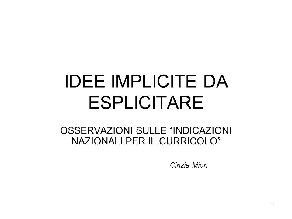 1 IDEE IMPLICITE DA ESPLICITARE OSSERVAZIONI SULLE INDICAZIONI NAZIONALI PER IL CURRICOLO Cinzia Mion