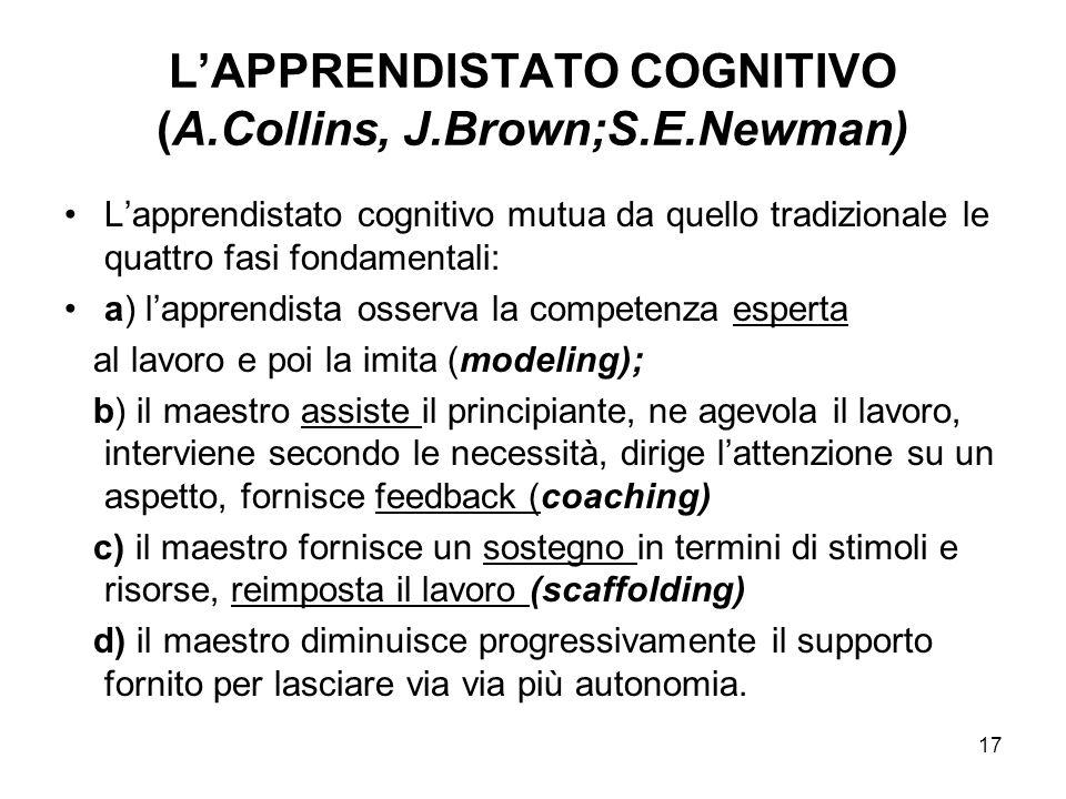 17 LAPPRENDISTATO COGNITIVO (A.Collins, J.Brown;S.E.Newman) Lapprendistato cognitivo mutua da quello tradizionale le quattro fasi fondamentali: a) lap