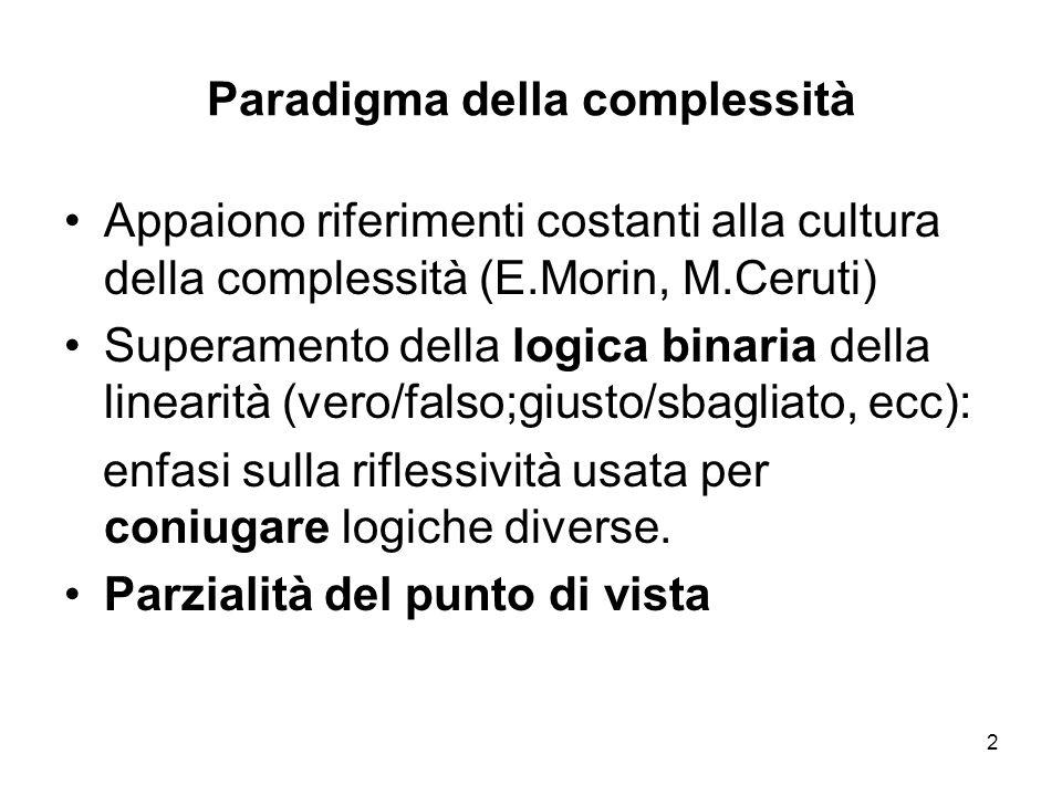 2 Paradigma della complessità Appaiono riferimenti costanti alla cultura della complessità (E.Morin, M.Ceruti) Superamento della logica binaria della