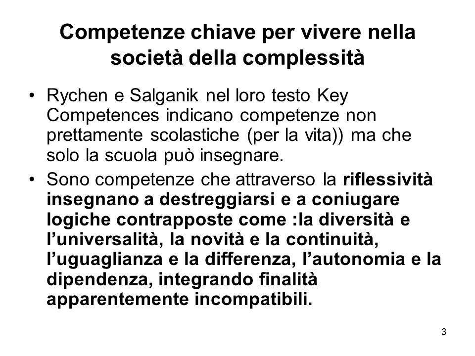 3 Competenze chiave per vivere nella società della complessità Rychen e Salganik nel loro testo Key Competences indicano competenze non prettamente sc