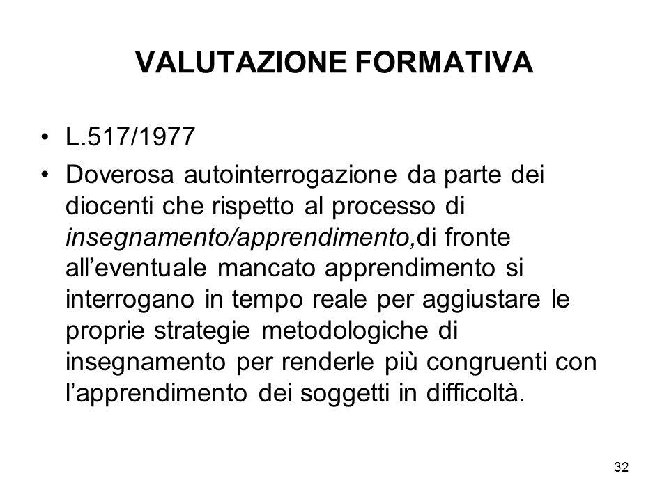 32 VALUTAZIONE FORMATIVA L.517/1977 Doverosa autointerrogazione da parte dei diocenti che rispetto al processo di insegnamento/apprendimento,di fronte