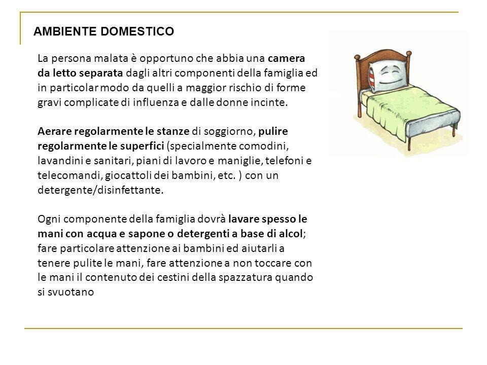 La persona malata è opportuno che abbia una camera da letto separata dagli altri componenti della famiglia ed in particolar modo da quelli a maggior r