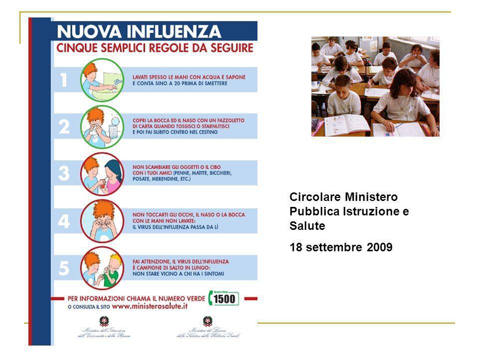 Circolare Ministero Pubblica Istruzione e Salute 18 settembre 2009