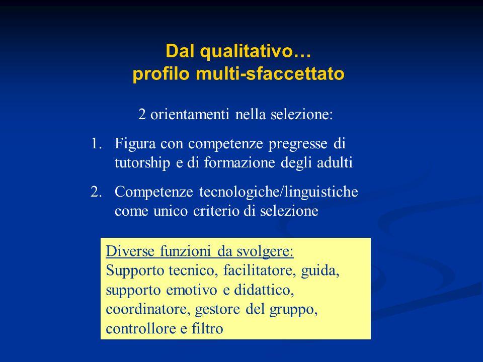 Dal qualitativo… profilo multi-sfaccettato 2 orientamenti nella selezione: 1.Figura con competenze pregresse di tutorship e di formazione degli adulti