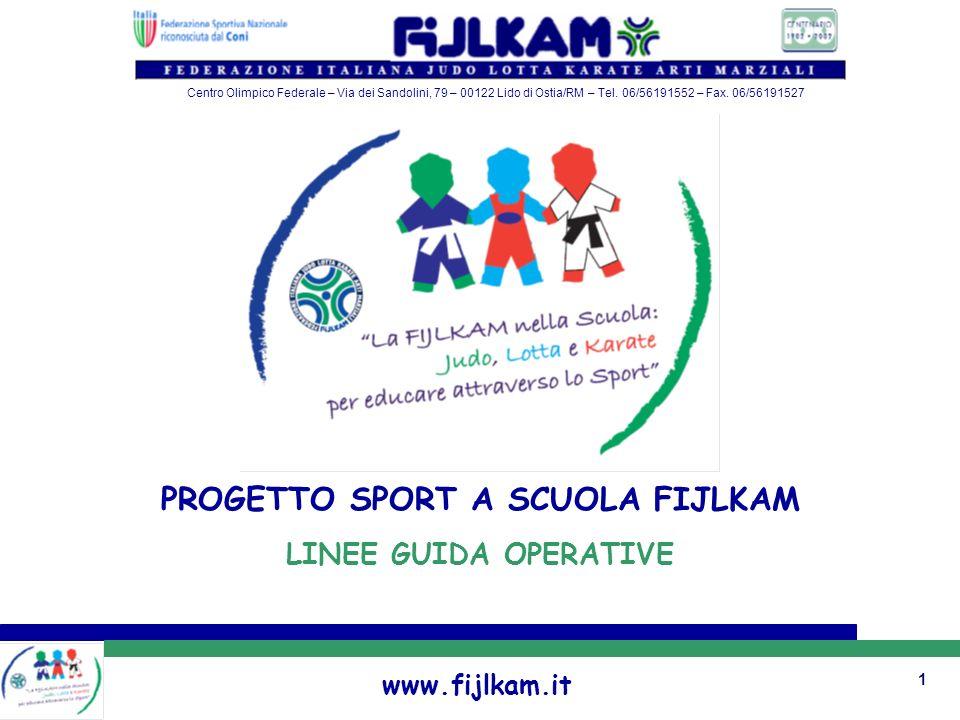 1 PROGETTO SPORT A SCUOLA FIJLKAM LINEE GUIDA OPERATIVE www.fijlkam.it Centro Olimpico Federale – Via dei Sandolini, 79 – 00122 Lido di Ostia/RM – Tel