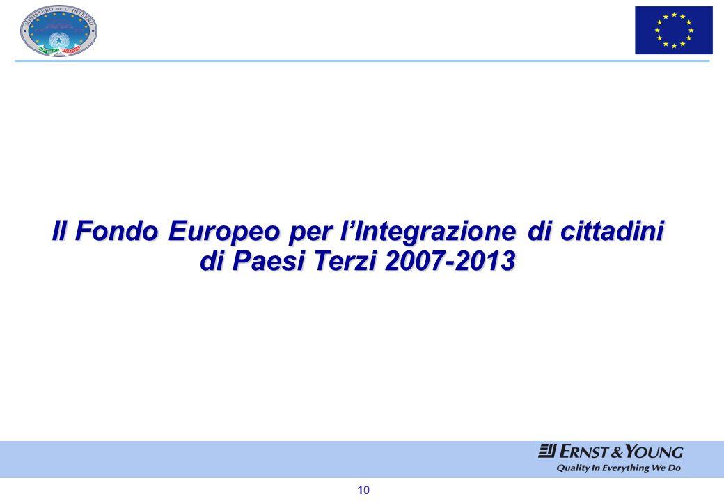 9 Il Programma Generale Solidarietà e Gestione dei Flussi Migratori 2007-2013 1)Il Fondo europeo per i rifugiati 2007-2013 volto a sostenere e promuov