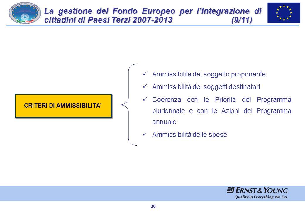 35 I Criteri di selezione rappresentano lo strumento di valutazione e selezione delle proposte progettuali finanziabili nellambito del Fondo Integrazi